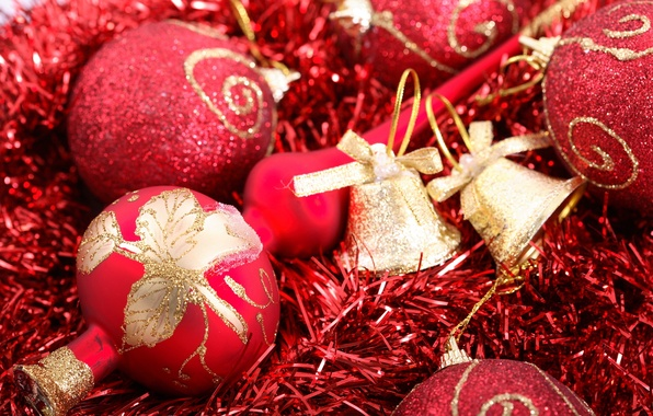 Picture red, holiday, patterns, new year, new year, tinsel, bells, gold, Christmas balls