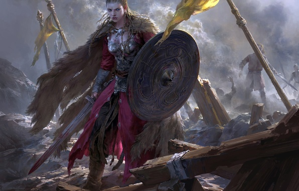 Picture sword, battle, the battle, cloak, warrior