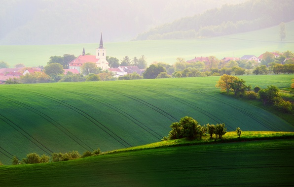 Picture light, trees, field, home, spring, morning, Czech Republic, May, chapel, Moravia