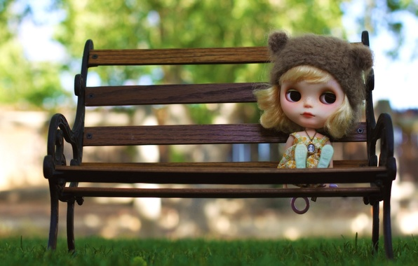 Picture sadness, grass, bench, mood, hat, toy, doll, blonde, medallion, pendant, waiting