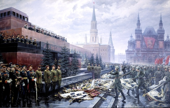 Picture picture, May 9, victory day, soldiers, the Kremlin, flags, red square