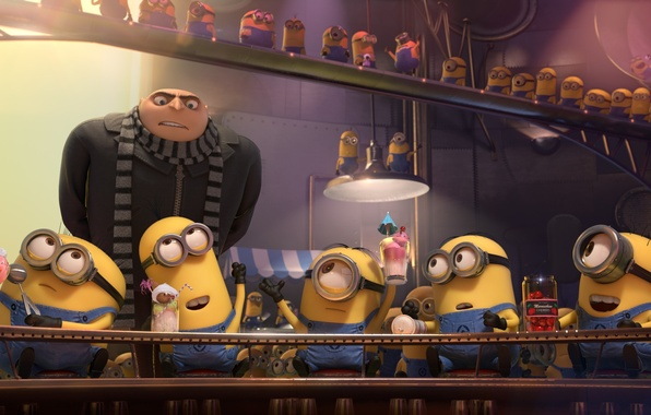 Picture yellow, cocktails, minions, despicable me 2