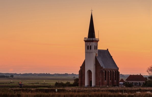 Picture field, sunset, the evening, village, pasture, Church