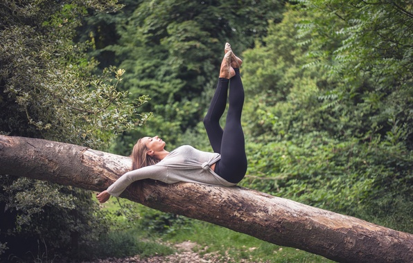 Picture girl, nature, pose, relax, legs, warm-up