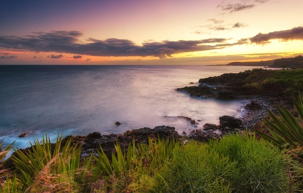 Picture sunset, nature, the ocean, coast, Hawaii, Hawaii