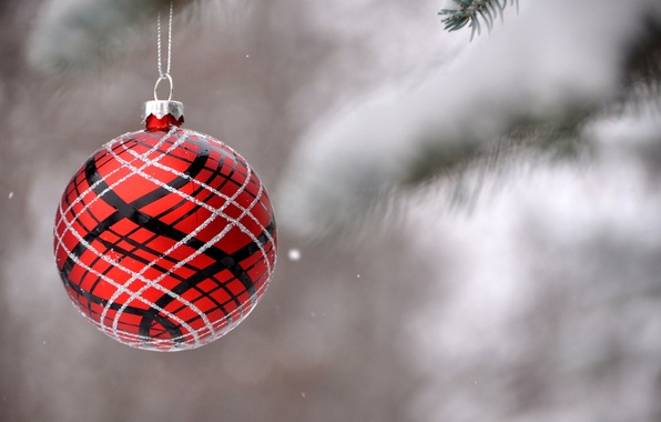 Picture winter, snow, branches, red, nature, patterns, toy, ball, spruce, ball, blur, New Year, Christmas, tree, …