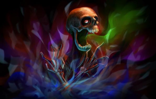 Picture skull, art, bones, skeleton, inkvisition, Por-t-falatron