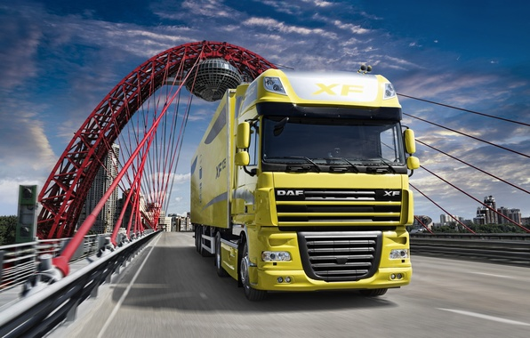 Picture Bridge, Wallpaper, Wallpapers, Truck, Tractor, DAF, The trailer, XF105, Ixef, DAF, 105