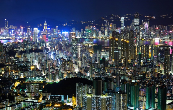 Picture light, night, the city, building, home, Hong Kong, skyscrapers, the evening, China, Asia, tall, Hong …