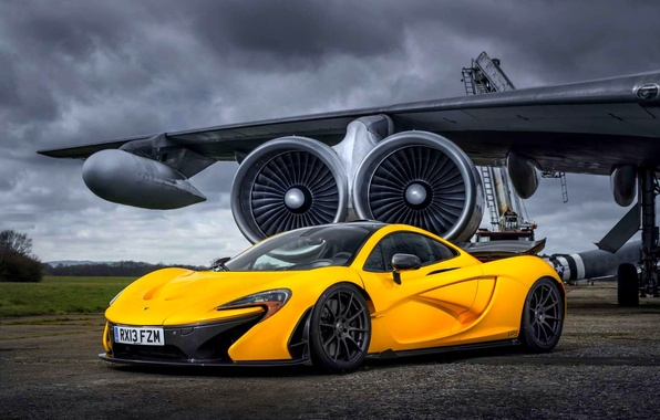 Picture McLaren, Yellow, The plane, Machine, McLaren, Supercar, Yellow, The airfield, Supercar