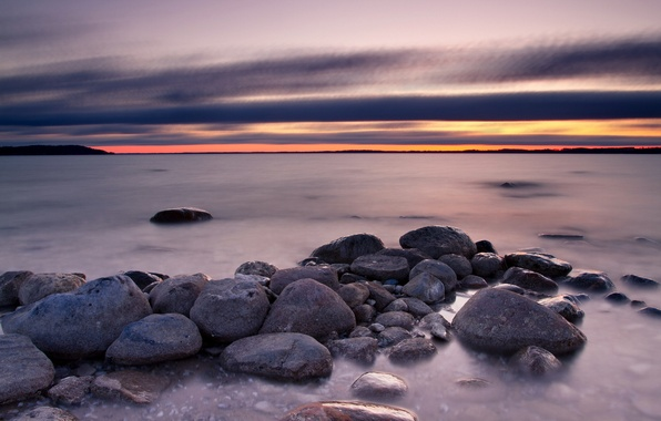 Picture sea, landscape, sunset, stones