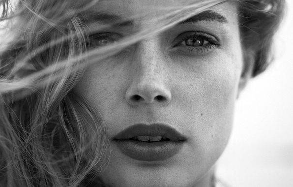 Picture look, girl, face, model, hair, portrait, Doutzen Kroes, lips, black and white, Doutzen Croesus, Victoria's …