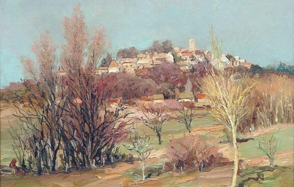 Picture trees, landscape, castle, hills, home, picture, Marseille Dif, The Castle of Neauphle, near Bois d'arcy