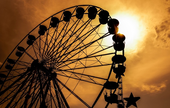 Picture the sky, the sun, sunset, memories, time, Wallpaper, mood, black, silhouette, attraction, Ferris wheel, wallpaper, …