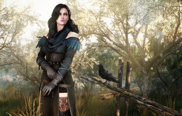 Picture girl, woman, garden, dress, fantasy, outfit, girl, fantasy, Raven, The Witcher, dress, woman, crow, garden, …