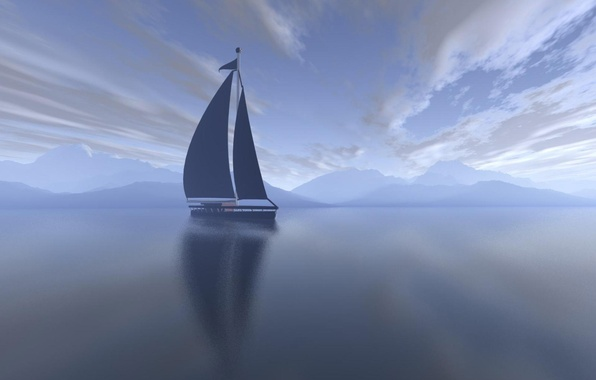 Picture sea, clouds, morning, yacht, sail, Landscape