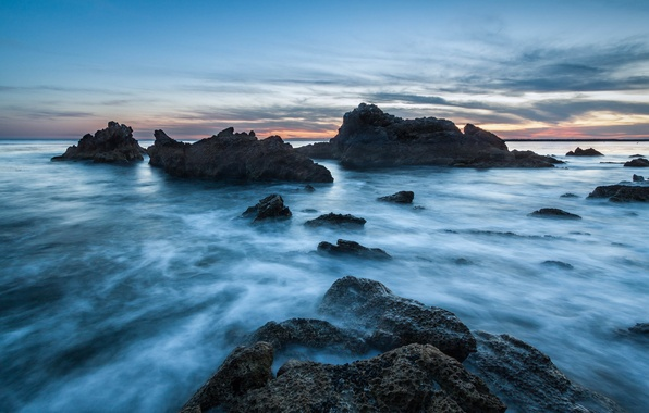 Picture the sky, clouds, sunset, stones, the ocean, rocks, blue, shore, the evening, CA, USA