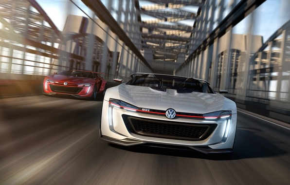 Picture car, Roadster, concept, Volkswagen, in motion, render, GTI