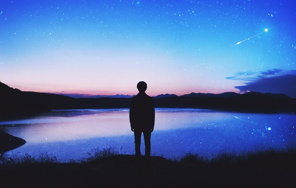 Picture the sky, stars, clouds, lake, reflection, mirror, silhouette, male, twilight