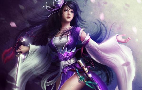 Picture girl, hair, sword, petals, art