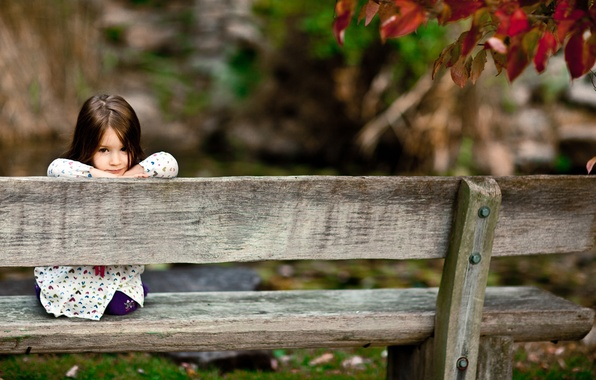 Picture forest, look, bench, children, smile, Park, tree, mood, girls, Board, girl, benches, smile, smile, seat