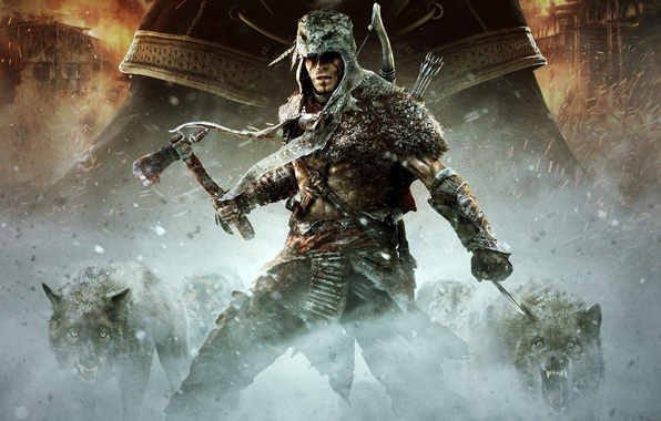 Picture fire, blood, wolf, bow, skin, arrows, killer, Ubisoft, Tomahawk, DLC, the half-breed Indian, Assassin's Creed …