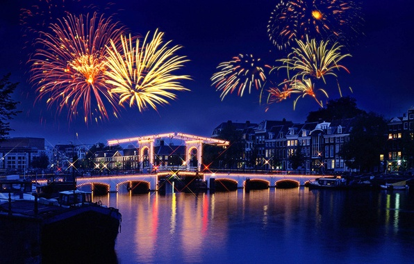 Picture night, lights, reflection, river, holiday, salute, fireworks, town