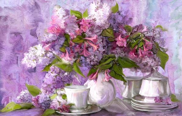 Picture flowers, bouquet, picture, Cup, still life, saucer, set