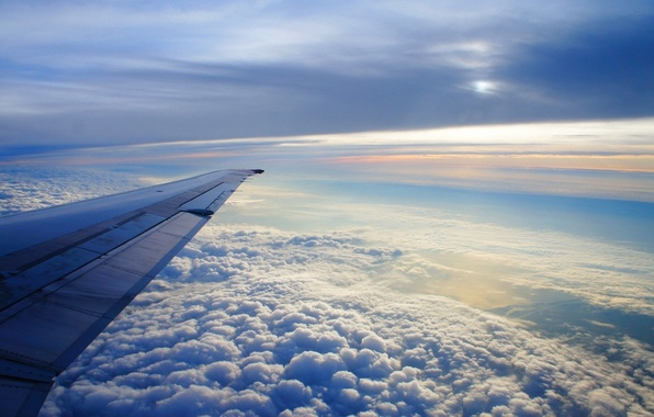 Picture the sky, clouds, flight, the plane, wing