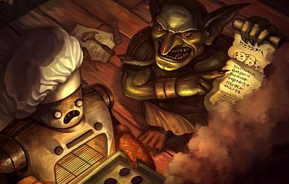 Picture smoke, robot, cookies, art, instrumento, cook, Goblin, recipe, Hearthstone, Goblin vs Gnomes