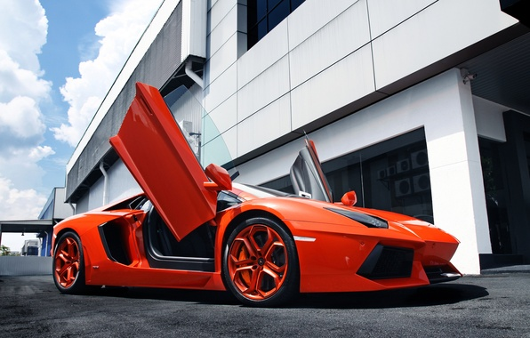 Picture the sky, orange, the building, Lamborghini, supercar, supercar, sky, orange, aventador, Lamborghini, aventador, building