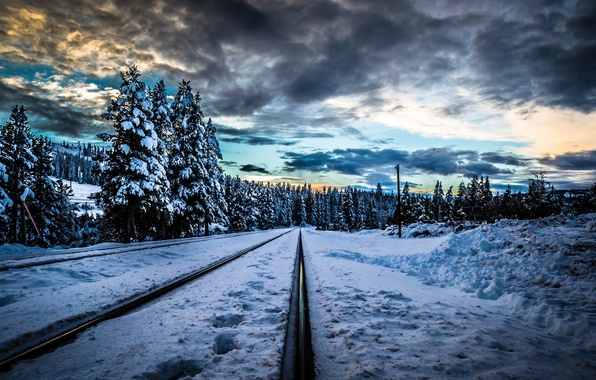 Picture winter, forest, snow, trees, sunset, clouds, rails, railroad