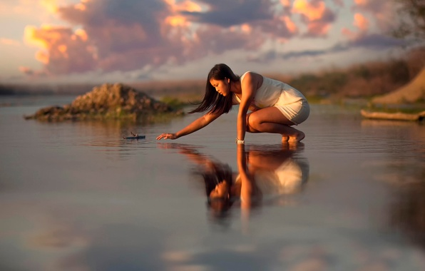 Picture water, girl, clouds, reflection, ruffle, Oriental appearance