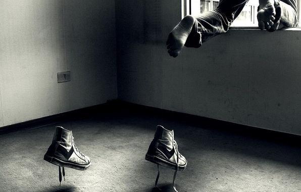 Picture jump, shoes, window, running