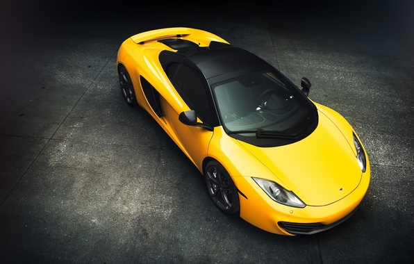 Picture McLaren, Front, MP4-12C, Yellow, View, Supercar, Top