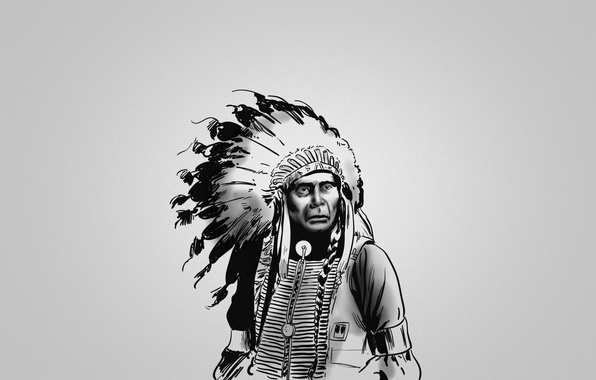 Picture black and white, feathers, serious, Indian, red, the leader