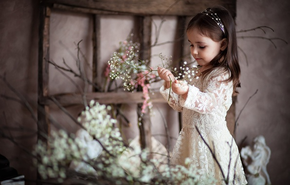 Picture flowers, child, girl, smile
