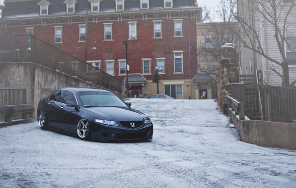 Picture winter, snow, the city, Honda, accord, stance
