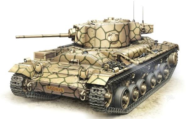 Picture figure, art, tank, British, Valentine, WW2, infantry, V Mk. III