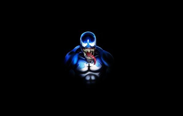 Picture minimalism, being, black background, comic, Spider-Man, Venom,