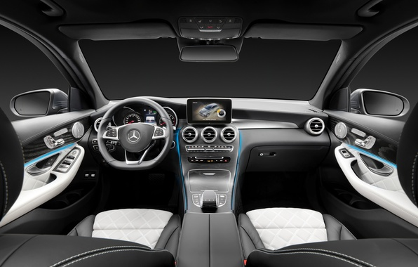 Picture Mercedes-Benz, interior, the wheel, salon, Mercedes, the instrument panel, torpedo, 4MATIC, 2015, X205, GLC 350
