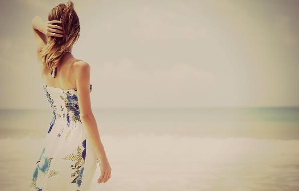 Picture sea, beach, summer, water, girl, river, background, widescreen, Wallpaper, mood, back, hand, dress, wallpaper, widescreen, …