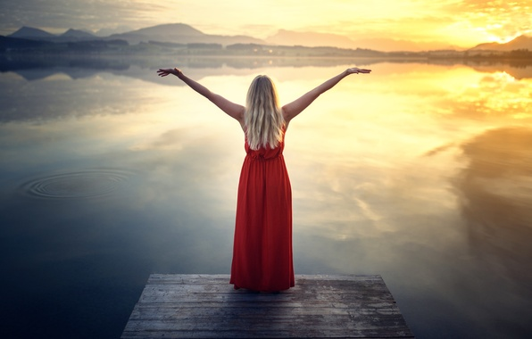 Picture girl, lake, dress, Red Dress at the Lake