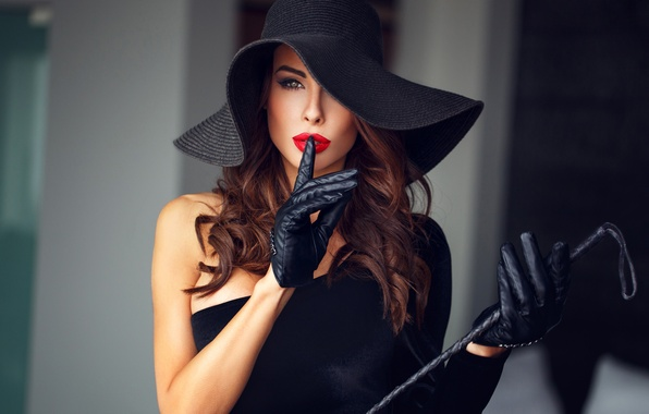Picture hat, leather, clothing, gloves, elegance, makeup