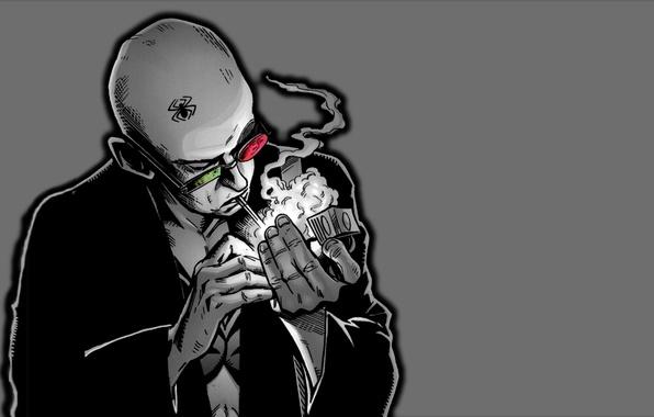 Picture style, art, glasses, cigarette, comics, character
