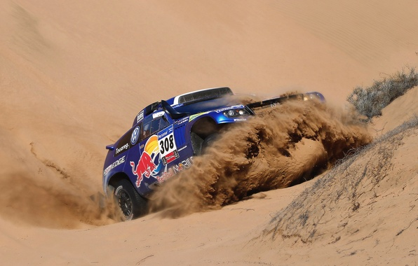 Picture Sand, Auto, Blue, Sport, Volkswagen, Machine, Race, Red Bull, Touareg, 308, Dakar, SUV, The front, …