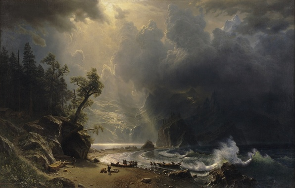 Picture clouds, light, mountains, rocks, shore, wave, boats, albert bierstadt