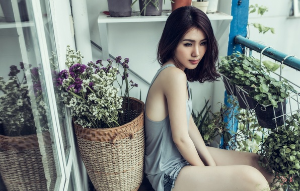 Picture girl, flowers, balcony, Asian