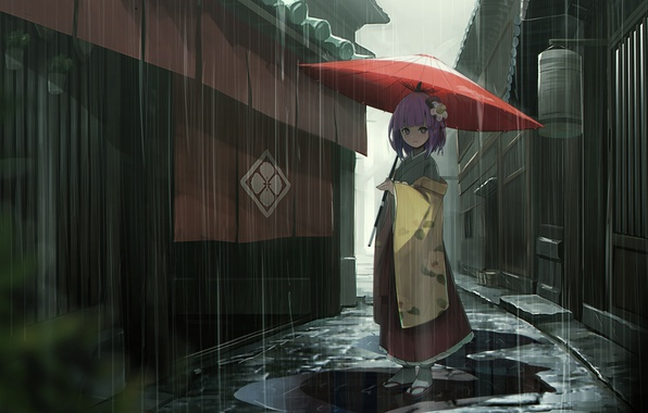 Picture rain, home, umbrella, girl, puddles, kimono, street, Touhou, Japanese, Touhou Project, Project East, Hieda no …