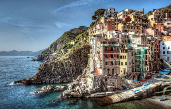 Picture sea, landscape, rocks, coast, building, boats, Italy, Italy, Riomaggiore